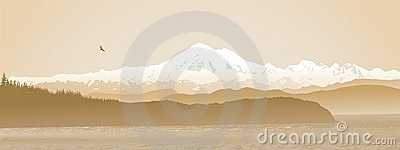 Mount Baker, Washington State panoramic in sepia