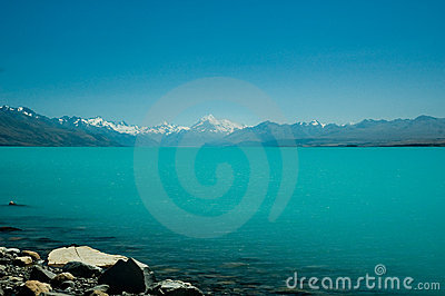 Mount Cook and Lake Tekapo on a Sunny Day