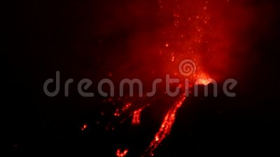 Mount Etna eruption. Eruption of the volcano Mount Etna, near Catania Sicily, Italy on December 11, 2018. This eruption was active on the new south-east craters
