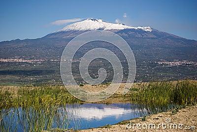 Mount Etna reflection
