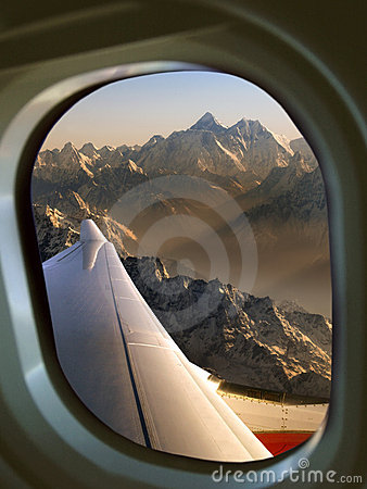Mount Everest from aircraft window