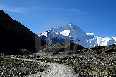 Mount everest from the trail of base camp