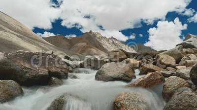 Mountain creek on Kailash Mount, Kora Tibet. 4K stock video