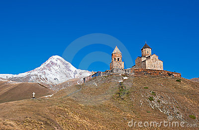 Mount Kazbek and Trinity Monastery, Georgia