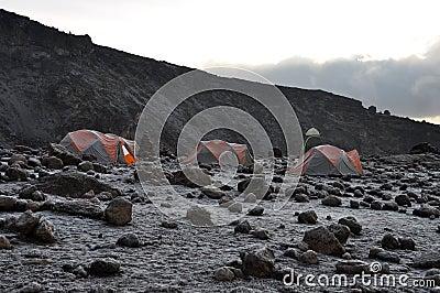 Mount Kilimanjaro base camp at the sunrise