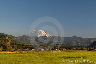 Mount Rainier with Rural Farm