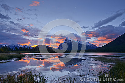 Mount Rundle and Vermilion Lake Reflections at Aut