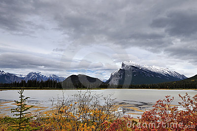 Mount Rundle and Vermilion Lakes at sunset