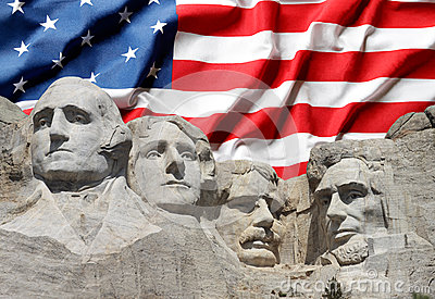 Mount Rushmore National Park Presidents with US flag