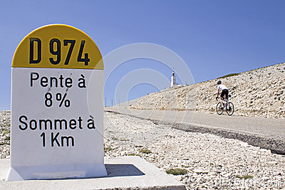 Mount Ventoux, cycling to the top. France.