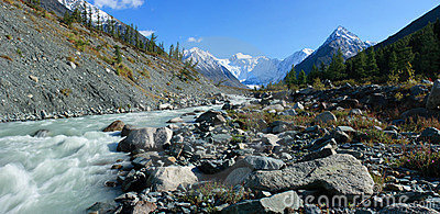 Mountain Altai. The river Akkem, a kind on the Whi