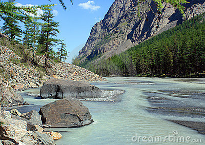 Mountain Altai. The river Maashej.
