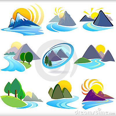 Free Mountain And Hills ICONs - Editable And Layered Ve Stock Photos - 22234993