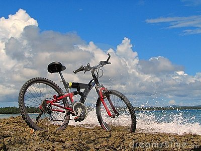 Mountain-bike on beach