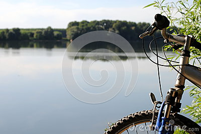 Mountain bike close to a river