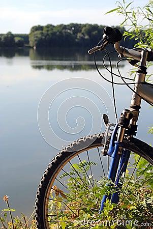 Mountain bike close to a river