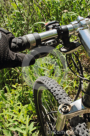Mountain bike on grass