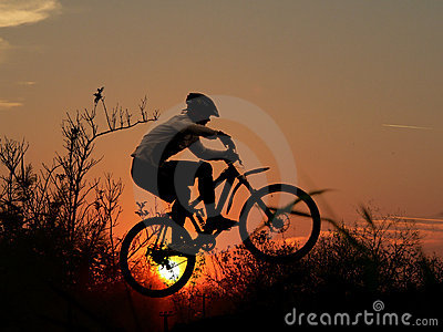 Mountain bike racer silhouette