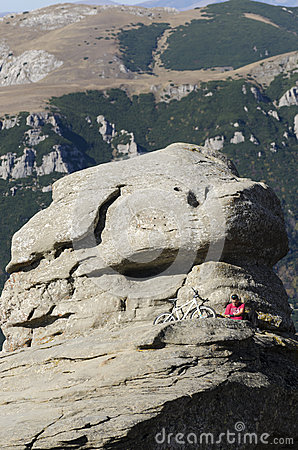 Mountain biker in Bucegi mountains, Romania Editorial Photo