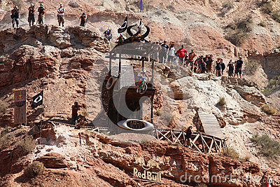 Mountain biker cliff drop Editorial Stock Photo