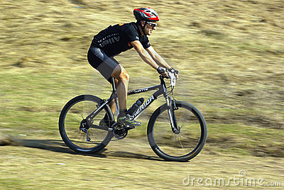 Mountain biker at a competition Editorial Stock Image