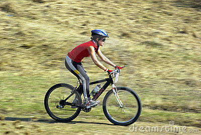Mountain biker at a competition Editorial Stock Photo