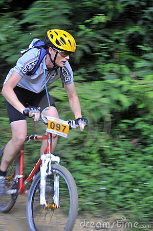 Mountain Biker Concentration And Determination Editorial Image
