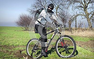 Mountain biker in field