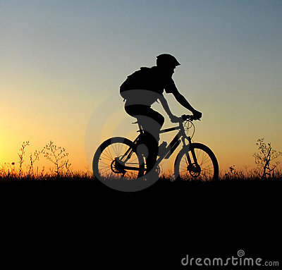 Mountain biker girl silhouette