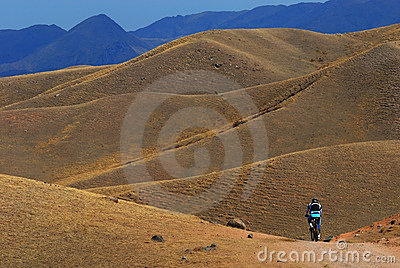 Mountain biker on road in desert mountain