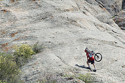 Mountain biker uphill