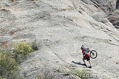 Mountain biker uphill