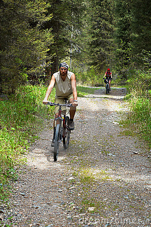Mountain bikers on old rural road