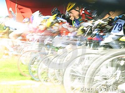 Mountain bikers on a start