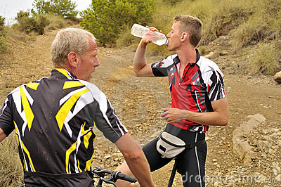 Mountain Bikers Taking a Break