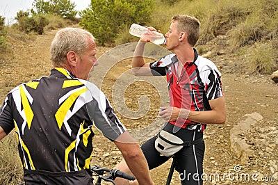 Mountain Bikers Taking a Break