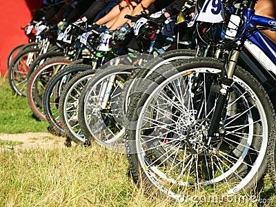 Mountain bikes on a start