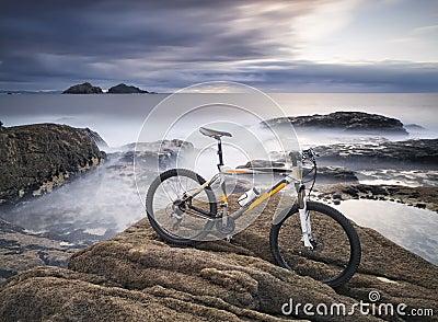 Mountain Biking and rock on the sea coast