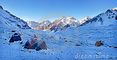 Mountain camp in the Himalayas