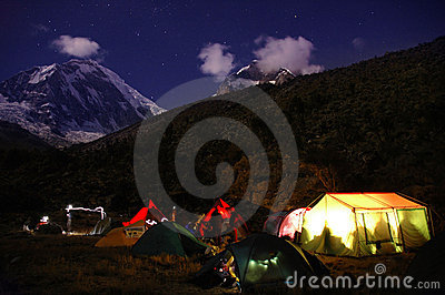 Mountain camping at night