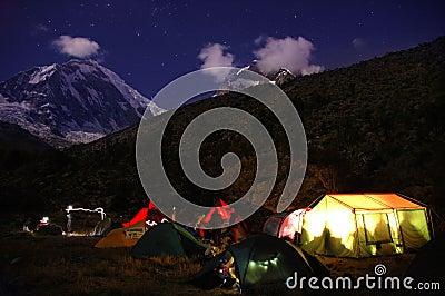 Mountain camping at night