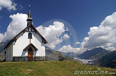 Mountain Chapel With Aletsch Glacier Stock Photos - Image: 20855353