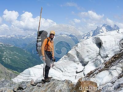 Mountain-climber in high caucasus mountains
