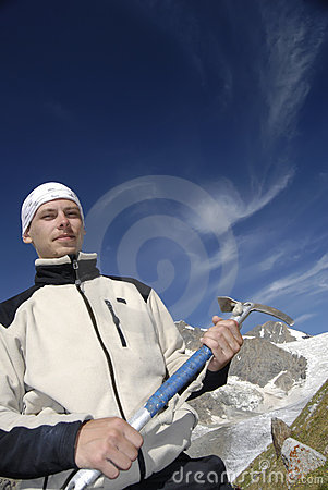 Mountain Climber With Ice-axe Royalty Free Stock Photos - Image: 1468208