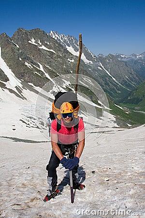Mountain climber with ice-axe