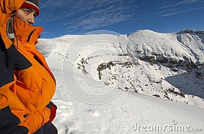 Mountain Climber Pauses