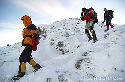 Mountain climbers descending the mountain.