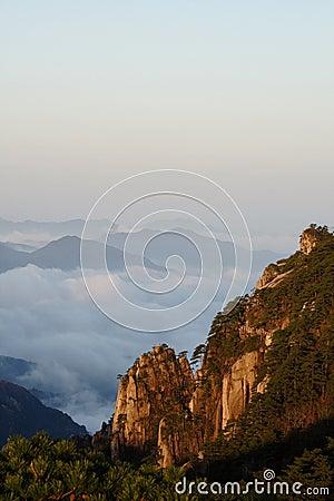 Mountain in dawn sunlight