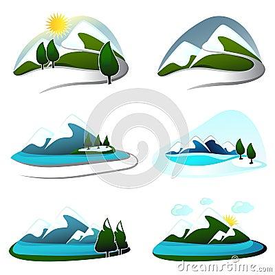 Free Mountain Design Elements Royalty Free Stock Image - 16503506