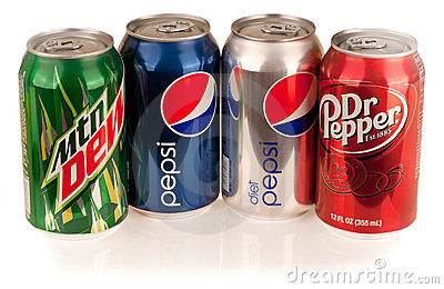 Mountain Dew, Diet and Regular Pepsi, Dr. Pepper Editorial Image